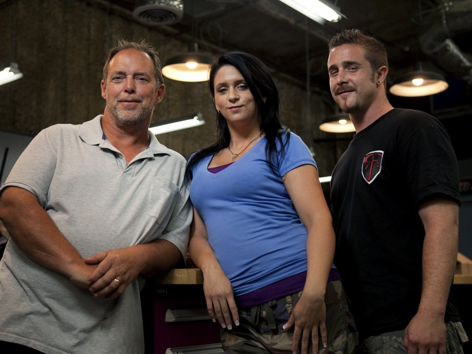 William Hayden posing for the camera with his Sons of Guns cast members, his daughter, Stephanie and son-in-law.