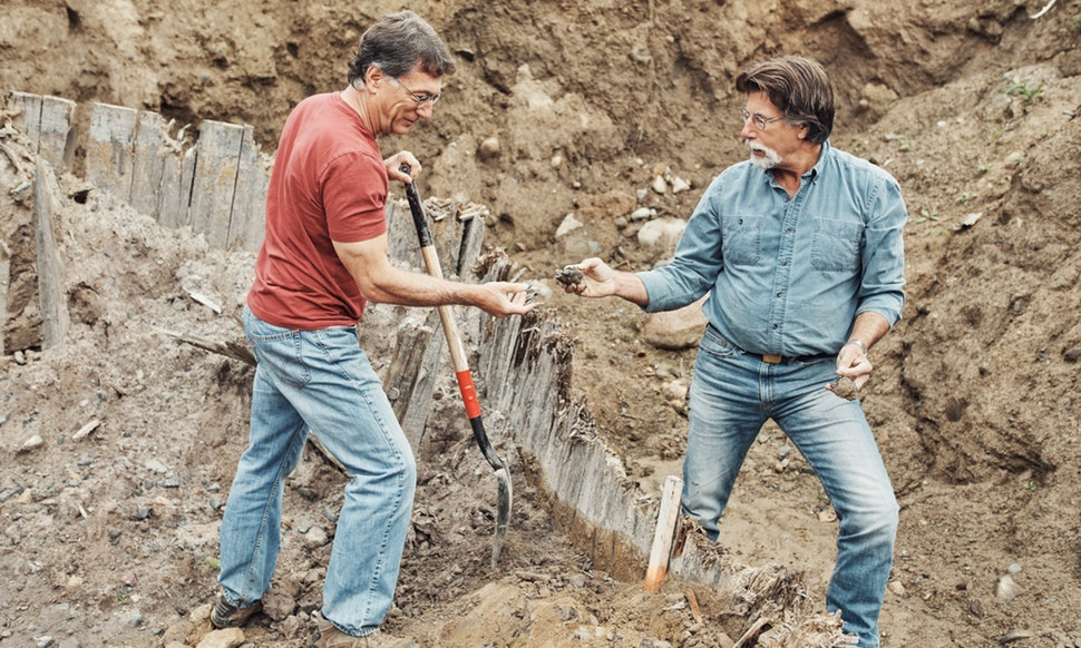 Rick and his brother Marty digging in the Oak island.