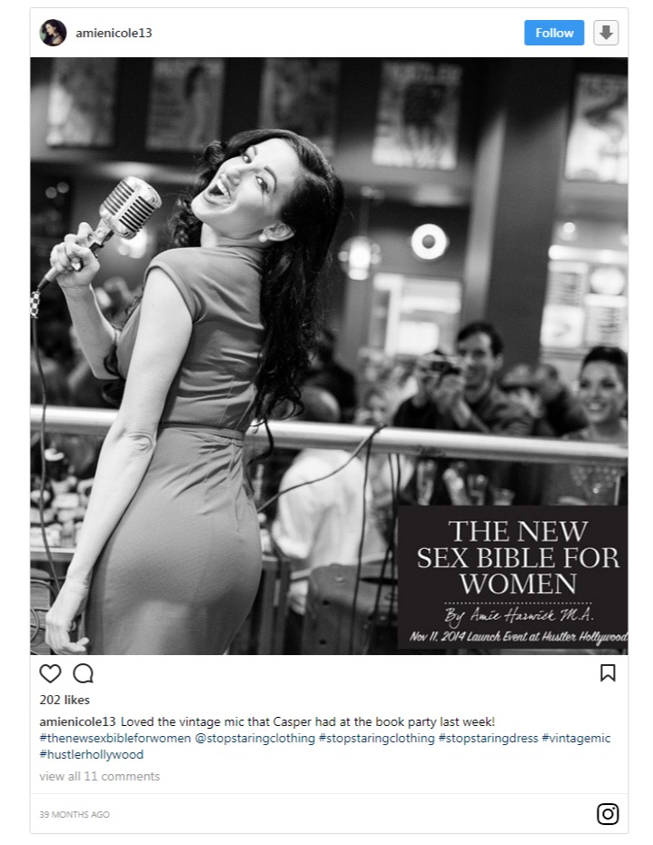 Amie Harwich sharing a snap regarding the release of her book, The New Sex Bible for the Women on her Instagram page.