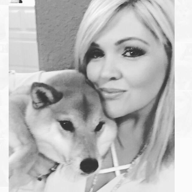 Rhonda is seen with her pet.