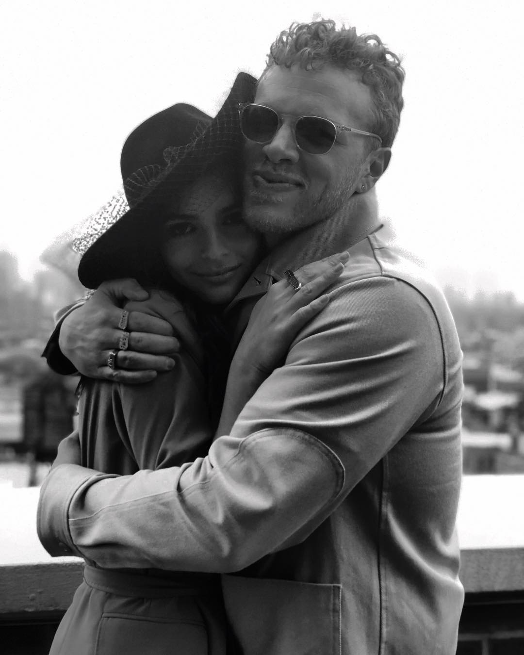 Sebastian Bear McClard and Emily Ratajkowski are hugging each other