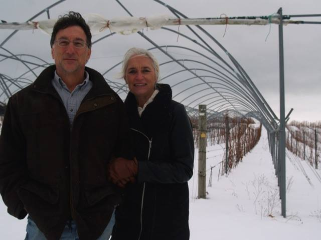 Marty Lagina and his wife, Olivia Lagina standing in their grape field