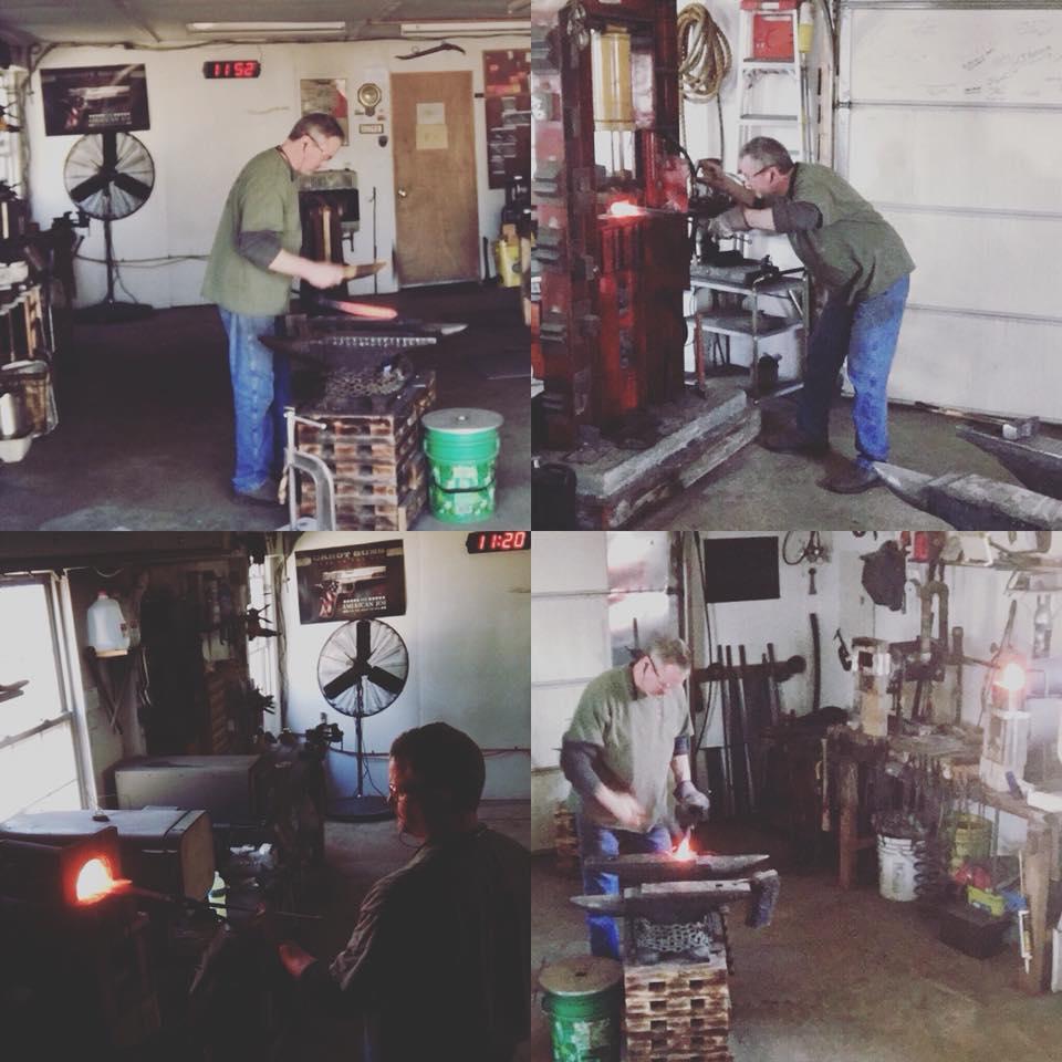 James Neilson forging a knife on his workshop.
