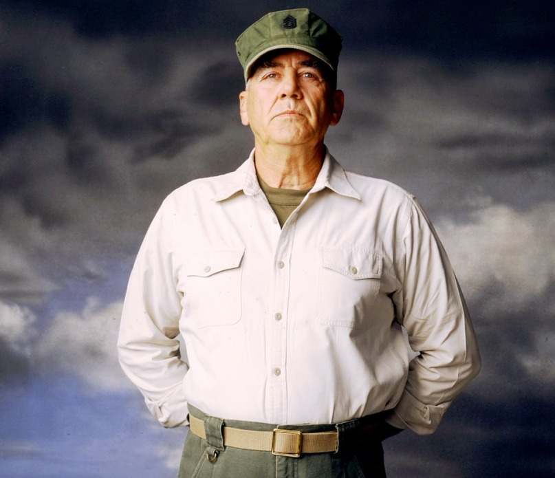 R. Lee Ermey is looking to the camera