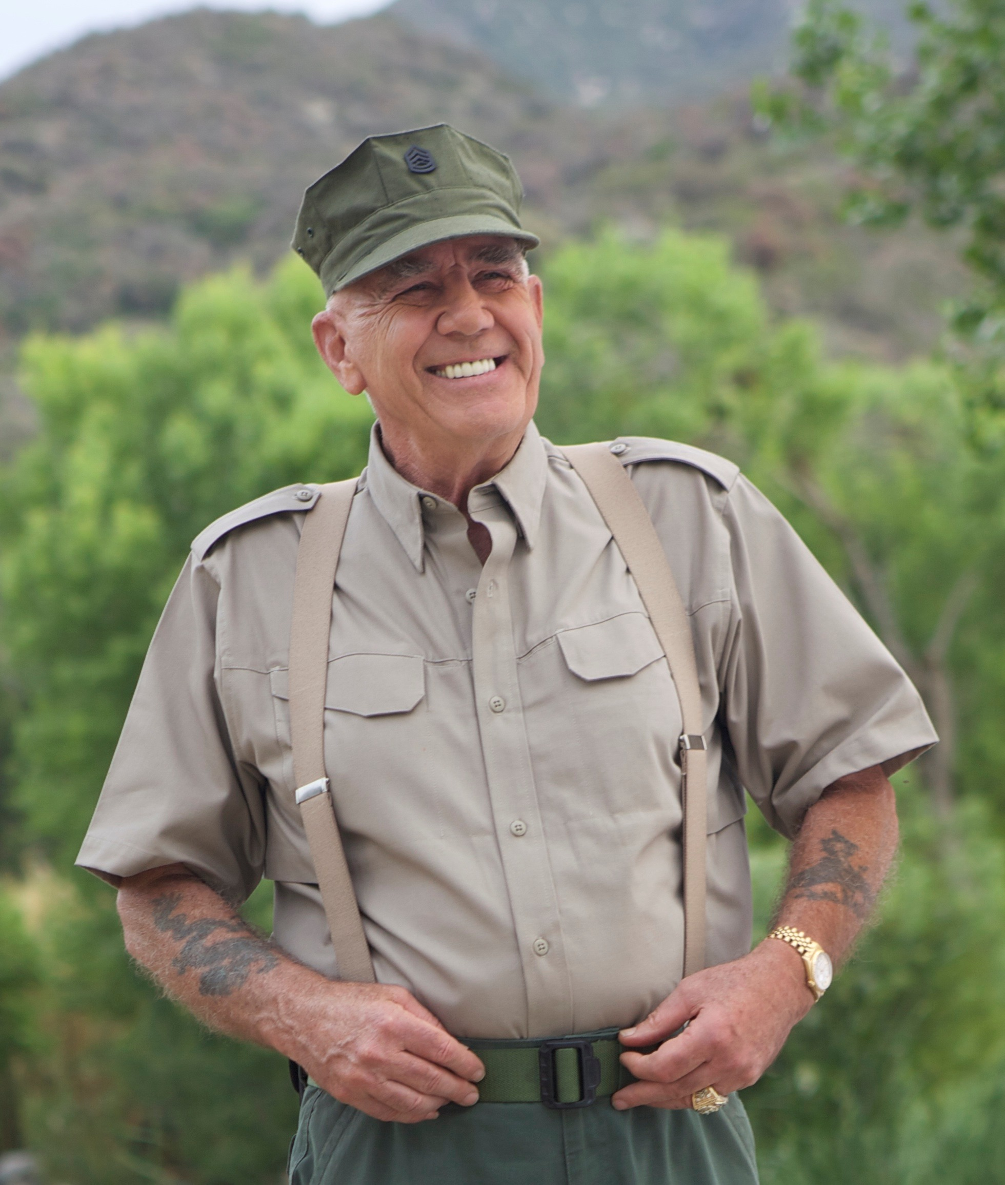 R. Lee Ermey is in his military training dress