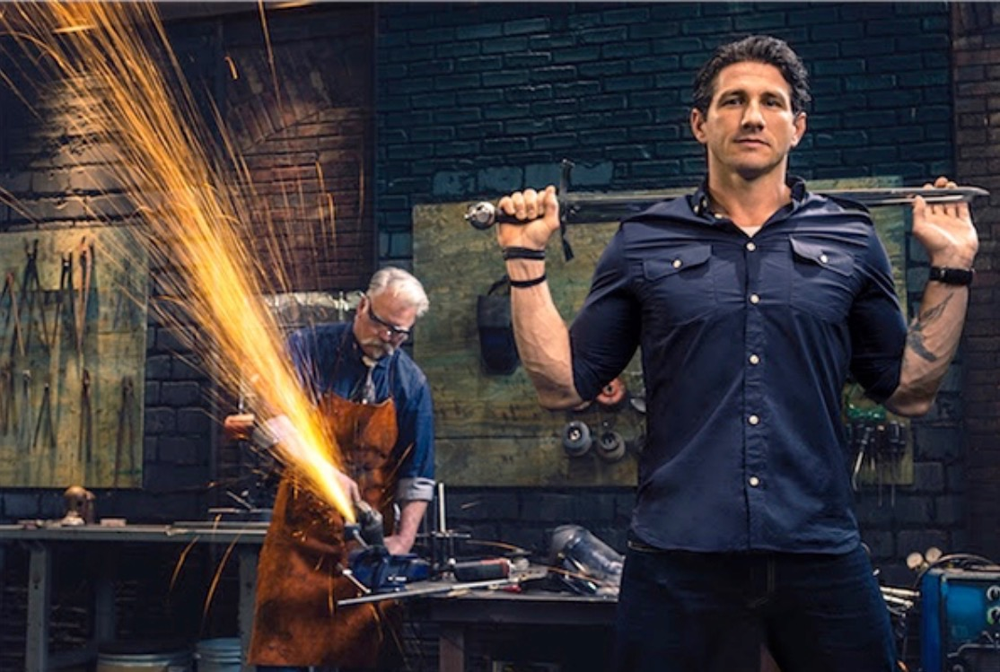 Wil Willis on the set of Forged in Fire.