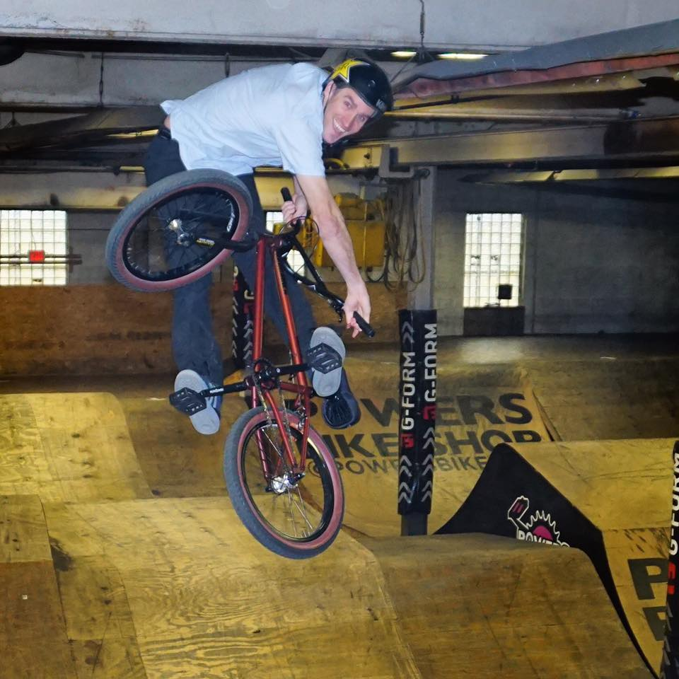 Chris Doyle rocking his moves with his BMX ride