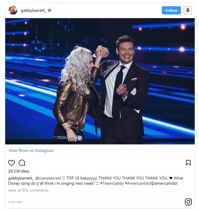 Gabby Barrett shares a snap with American Idol host on Instagram