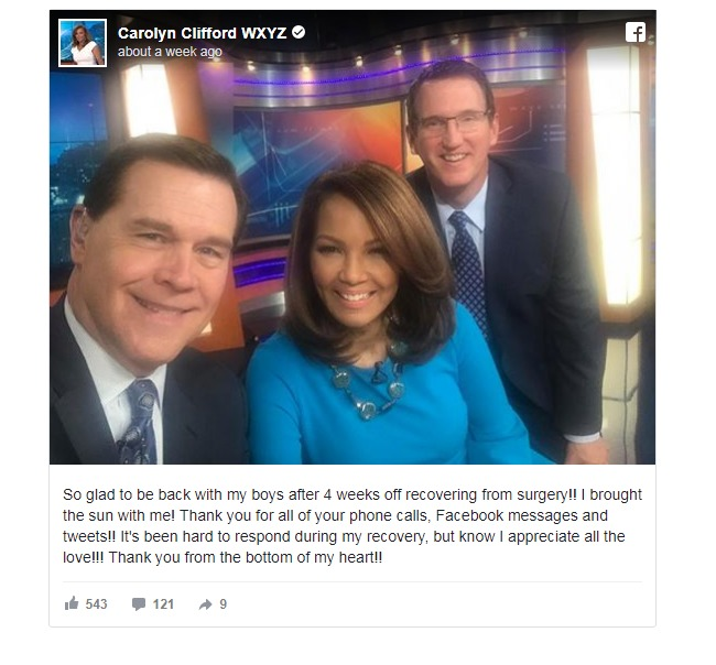 Carolyn Clifford shares on Facebook after she gets back to work after surgery recovery