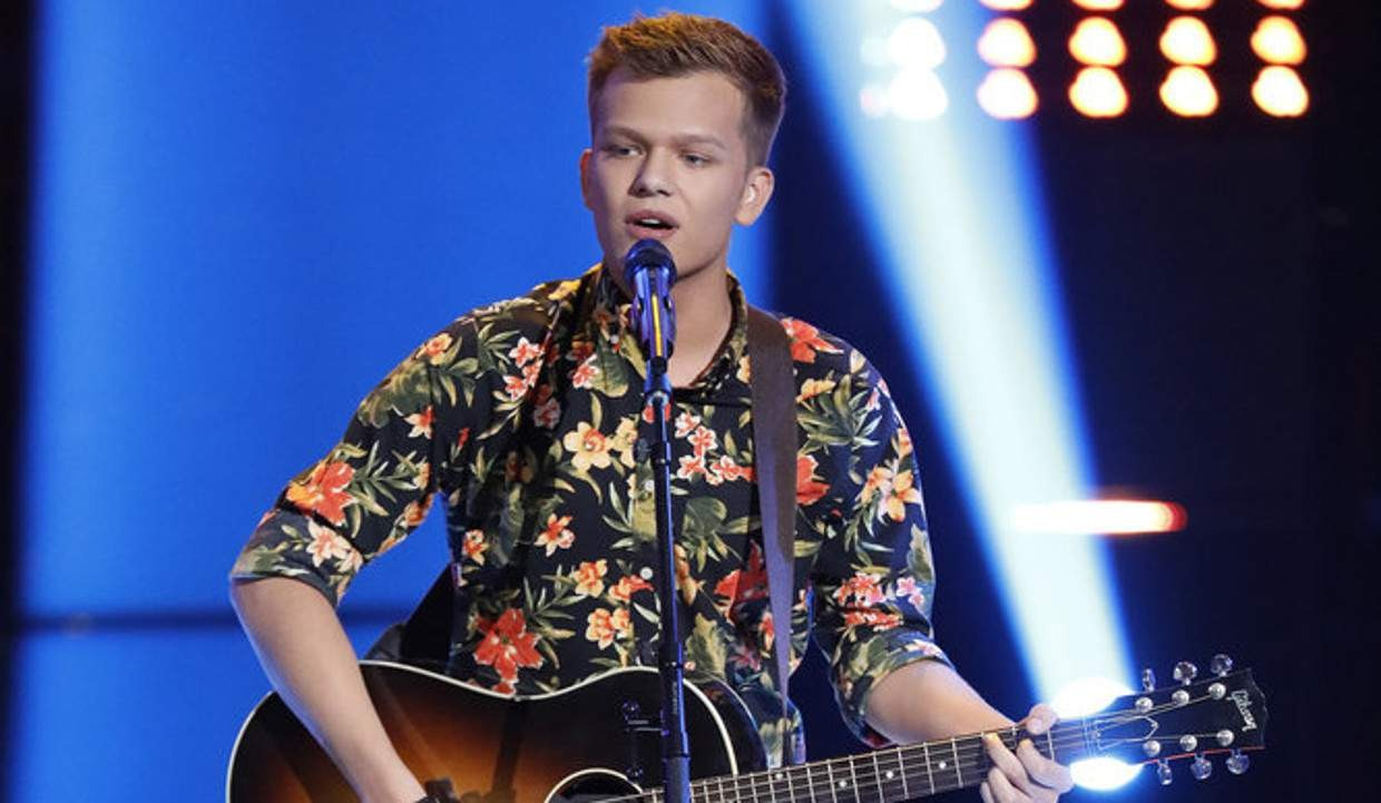 Britton Buchanan in the stage of The Voice