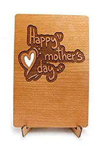 Laser Engraved Cut Mother's Day Heart Wood Card