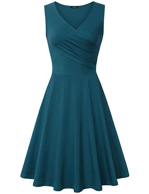 Laksmi Women's Casual V Neck Sleeveless A Line Cocktail Party Swing Dress