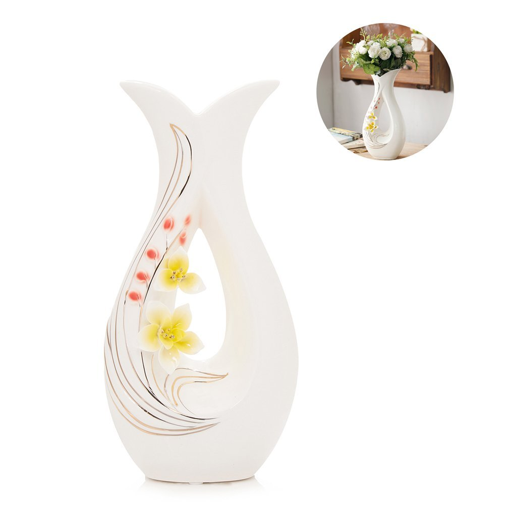 Tall White Ceramic Flower Vase