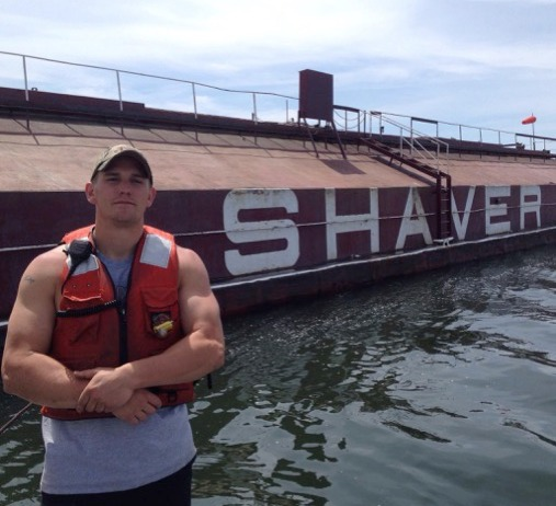 Clark Pederson  in front of the Shaver
