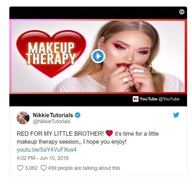 Nikkie De Jager's tweet regarding her new video, which is dedicated to her little brother, Mikai