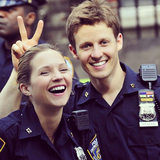 Vanessa Ray with her on screen partner and fiance