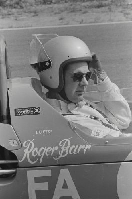Black & white image of Roger Barr during his racing days. Roger Barr is best known as the mechanic in reality show created by Wayne Carini, Chasing Classic Cars.