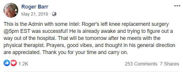 A screenshot of Roger Barr's Facebook post