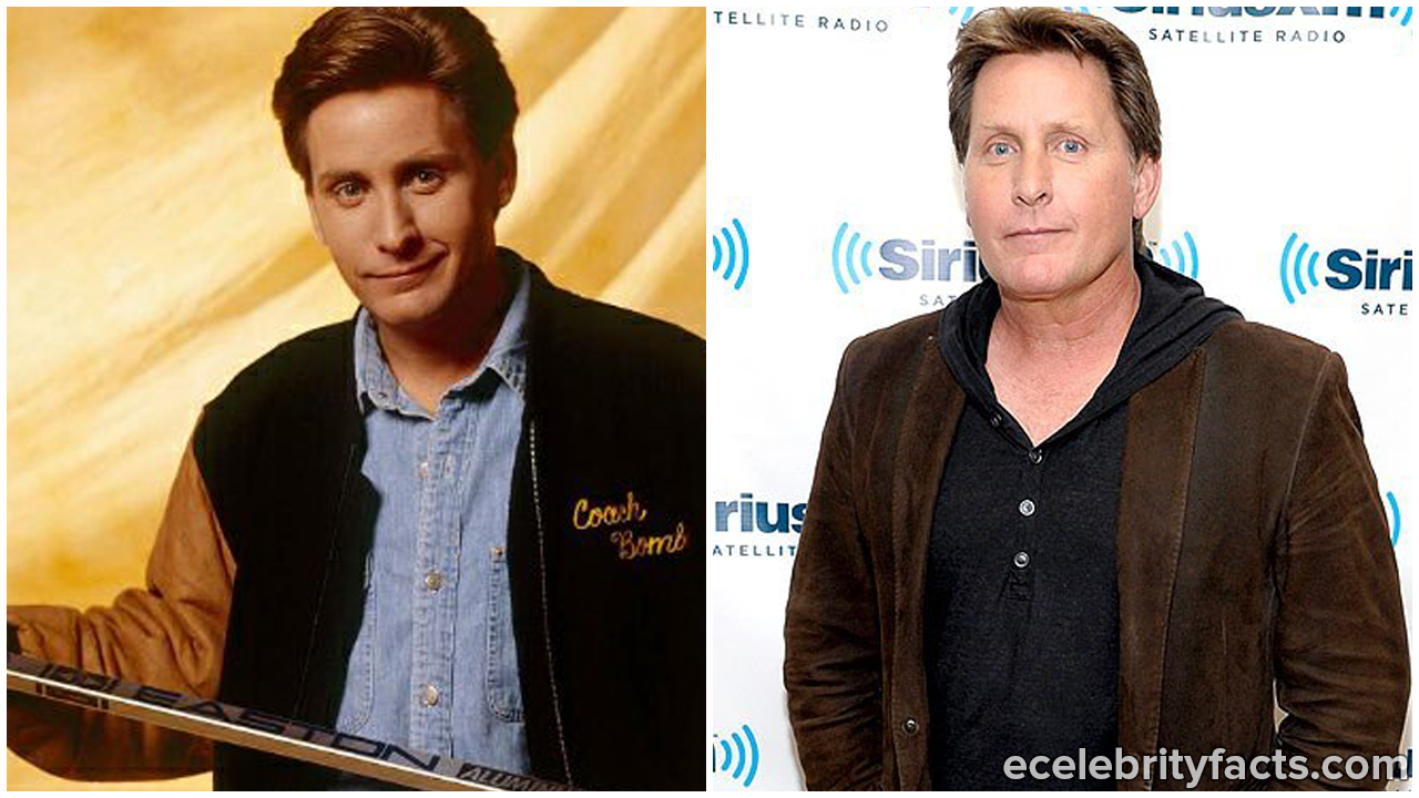 Emilio Estevez (as Gordon Bombay/ left) and Emilio Estevez now (right)