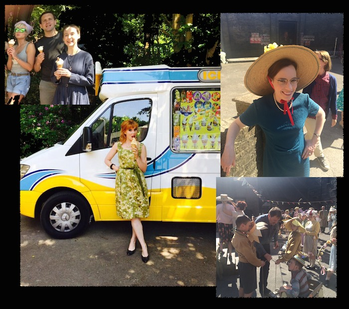 The cast of Call the Midwife including Helen George are enjoying ice cream