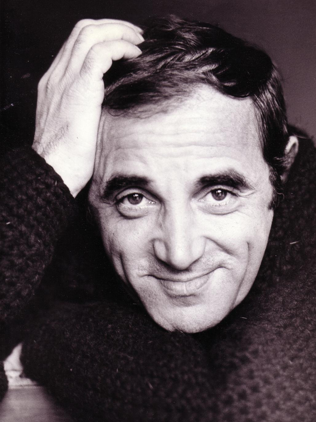 Black and white image of Charles Aznavour