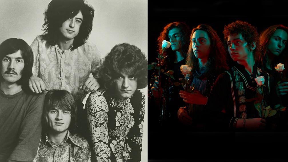 collage of Led Zeppelin and Greta Van Fleet