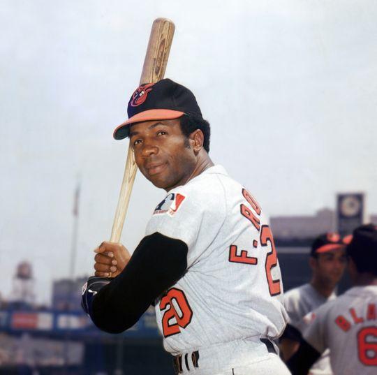 Frank Robinson in a batting position