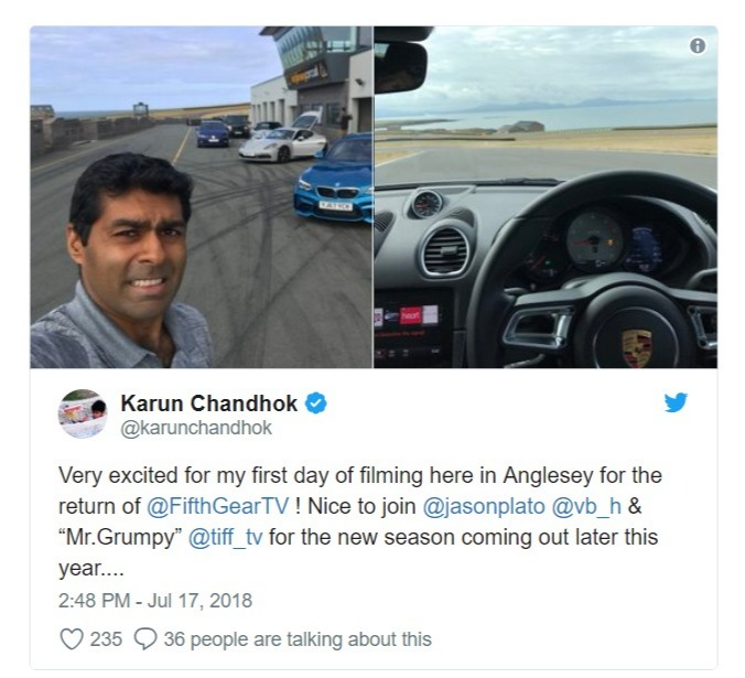 Karun Chandhok's tweet, new presenter of Fifth Gear