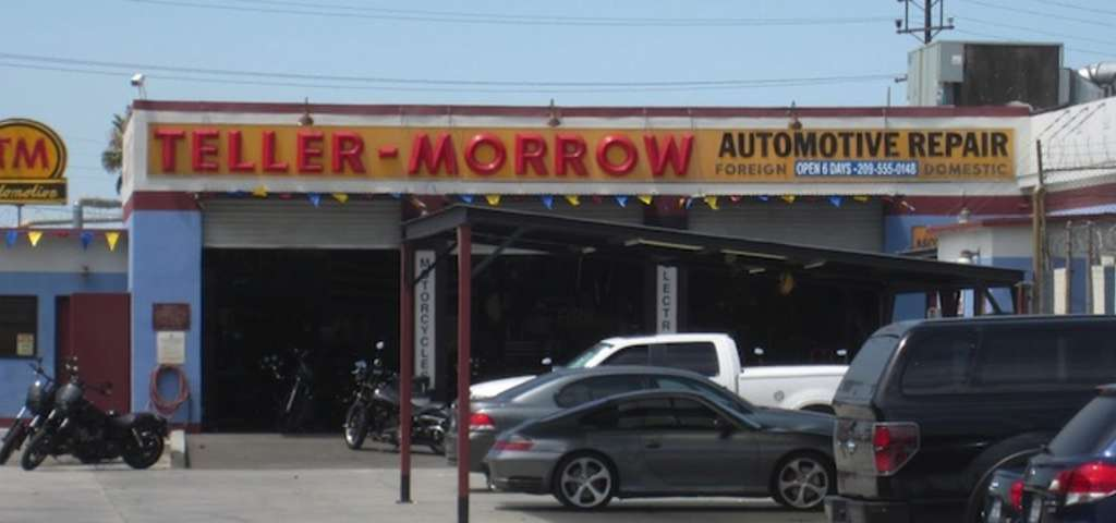 A picture of the garage set. The name Teller Morrow is made with red signs