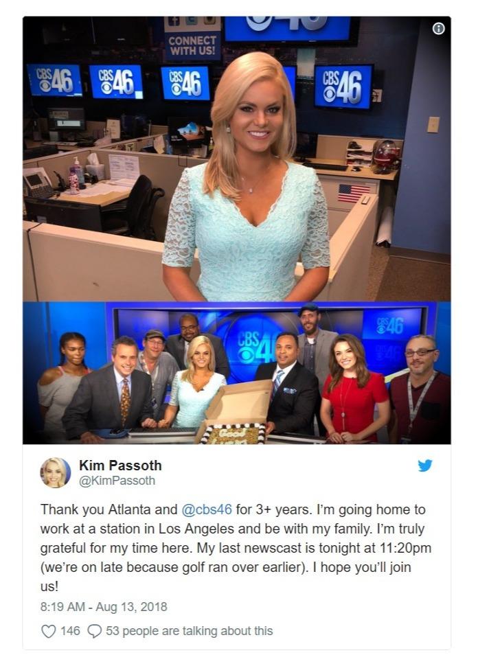 Kim Passoth's tweet regarding her departure from CBS46