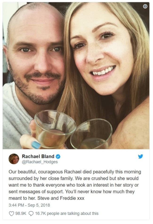 Rachael Bland's representative tweets regarding the demise of her