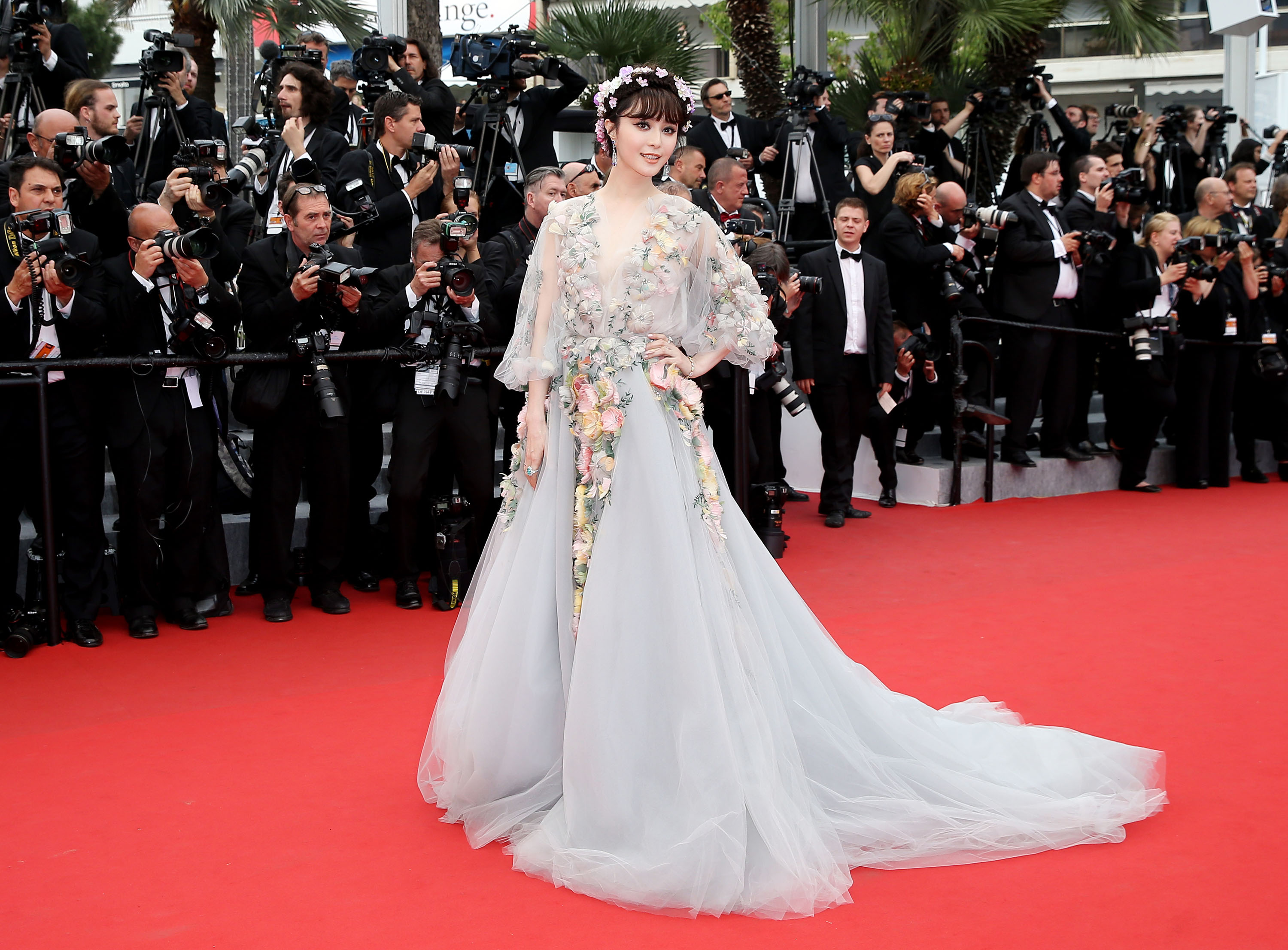 Fan Bingbing wearing a flower-covered tulle Marchesa ball gown