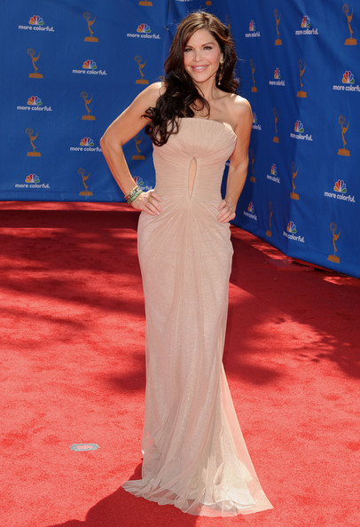 Lauren at the Emmy Awards. She is wearing a beautiful dress.