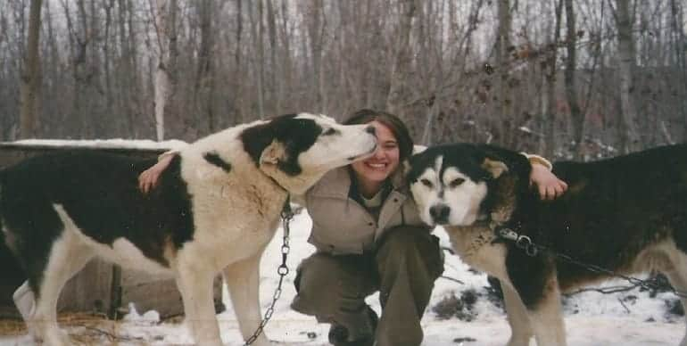 Talicia with sled dogs