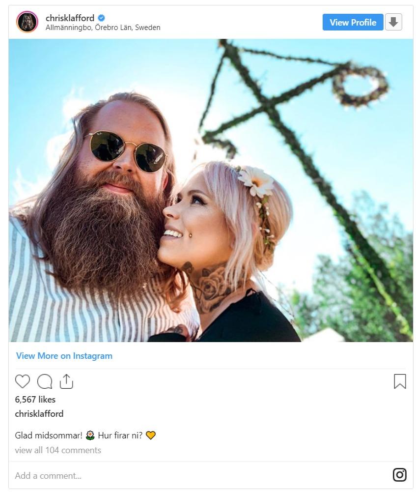Chris Klafford's sweet snap with his girlfriend, Bob Linger