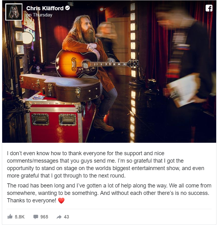 Chris Kläfford shared a heartfelt message thanking his fans after being showered with applause and support following his America's Got Talent audition singing John Lennon's hit song, Imagine