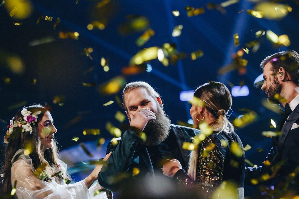 Chris Kläfford on stage after being announced the winner of Swedish Idol 2017