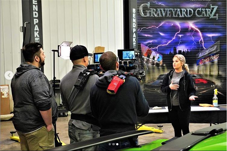 Allysa Rose speaking infornt of cameras. Allysa Rose is currently working for the new season of Graveyard Carz.