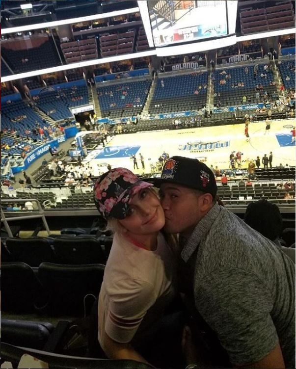 Allysa Rose with her boyfriend, Chris Wanke at a Basketball game. They have been together for more than 6 years now.