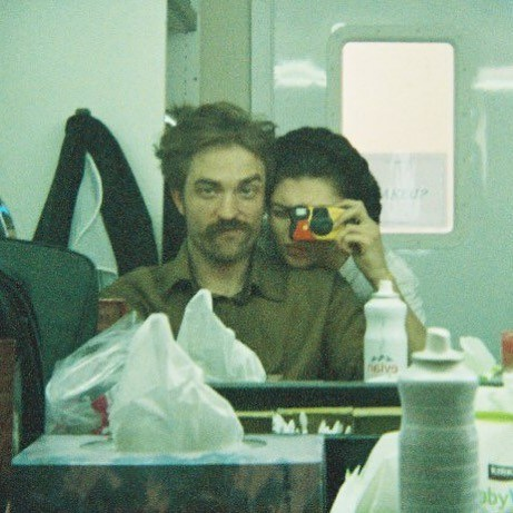 Valeriia Karaman with her costar, Robert Pattinson on the set The Lighthouse