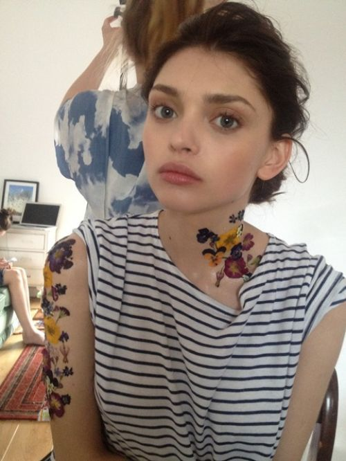 Valeriia Karaman during the shoot for Oh Comely Magazine. She also has 2 permanent tattoos on her waist and shoulder