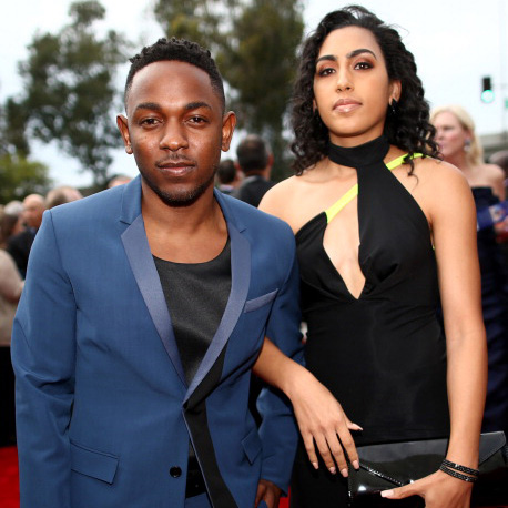 Make-up artist Whitney Alford with fiancee Kendrick Lamar at the Annual Grammy Awards 2014