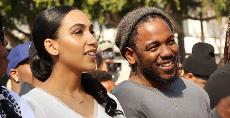 Whitney Alford with fiancee rapper Kendrick Lamar