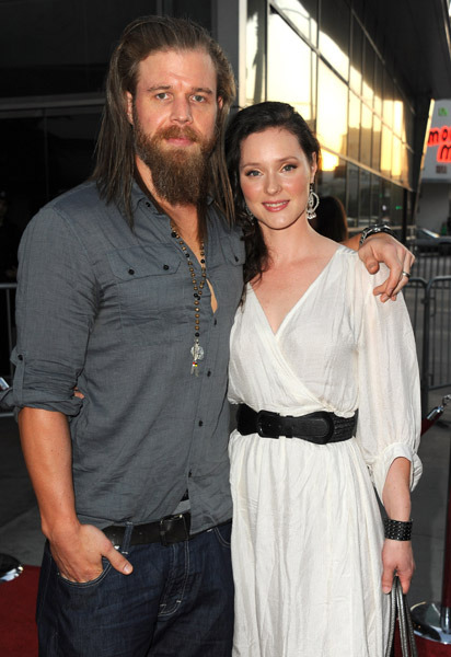 Actress Molly Cookson with husband Ryan Hurst at the premiere screening of season 4 of The Sons of Anarchy