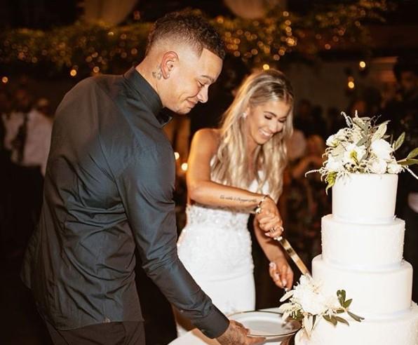 Singer Kately Jae with her husband, Kane Brown during their wedding day