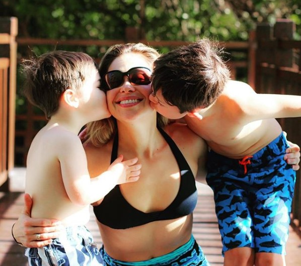 Actress Pascale Hutton with her two sons