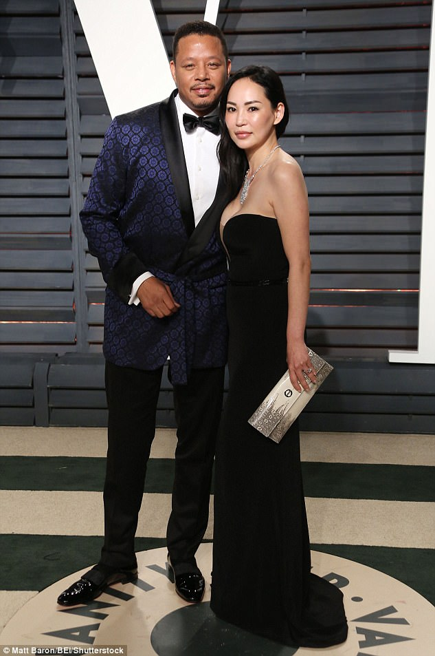 Miranda Pak with former husband Terrence Howard at the Vanity Fair Oscar Party 2017.