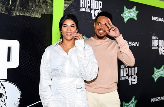 Kirsten Corley with husband Chance the Rapper at BET Hip Hop Awards 2019