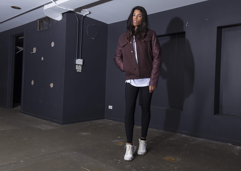 Model Kirsten Corley at an editorial shoot for Alexander Wang's Autumn/Winter Collection