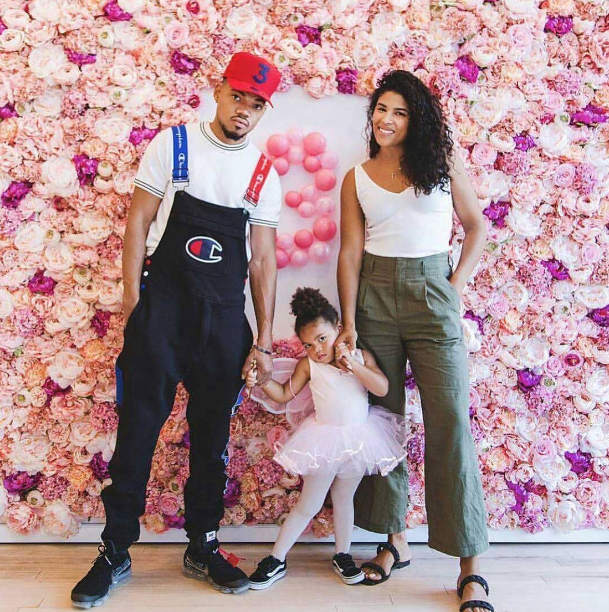 Kirsten Corley and Chance the Rapper at their eldest daughter Kensli's third birthday party